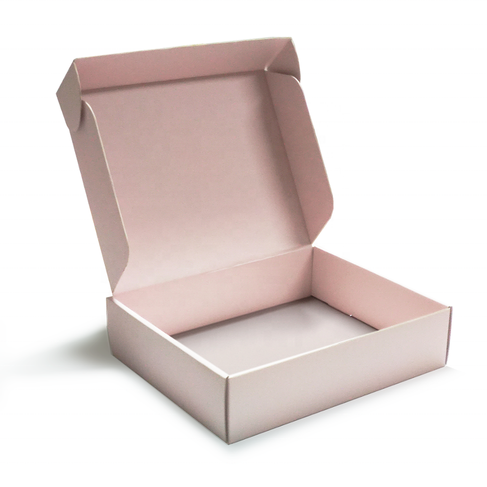Custom Printed Color Clothes Corrugated Paper Mailer Boxes Cardboard Carton Baby pink corrugated boxes clothing packaging box