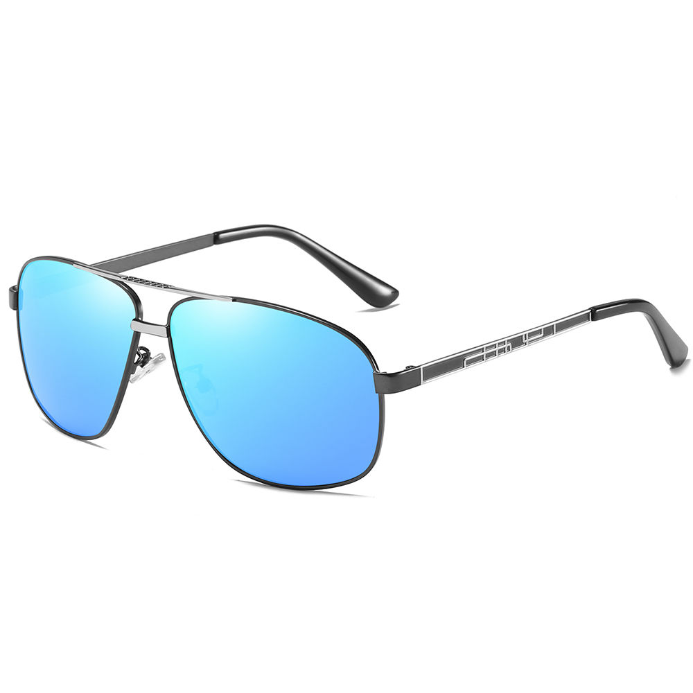 EUGENIA Classic Fashion Men Metal Square Sunglasses with Polarized Lenses Gray and Blue New Style