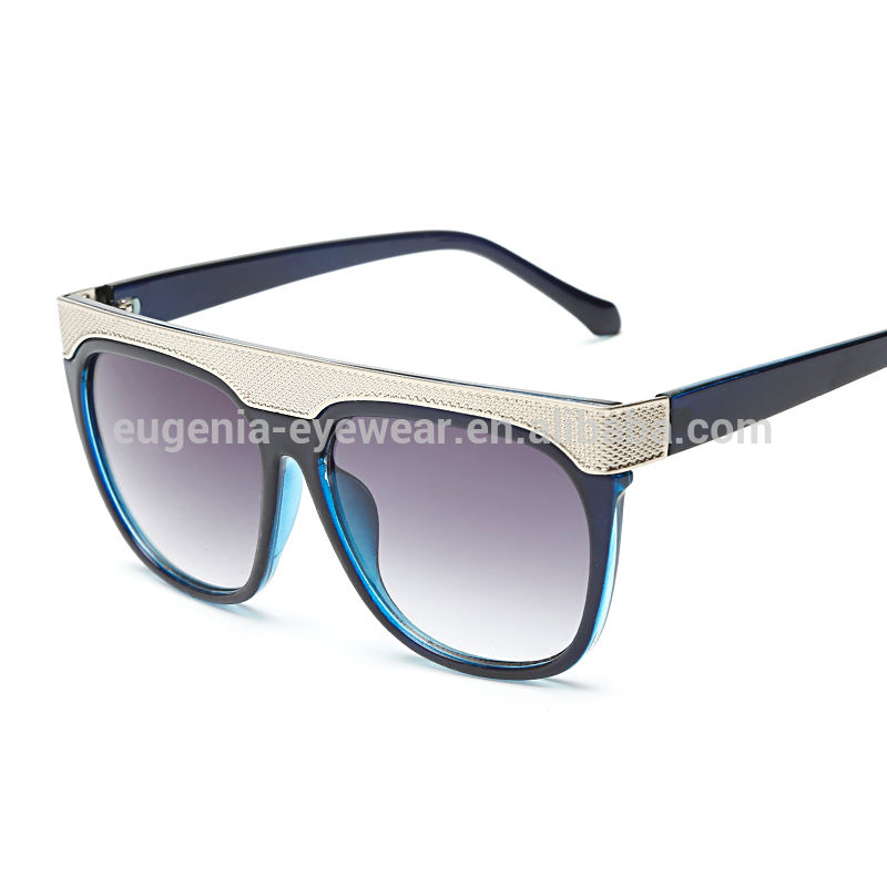 EUGENIA special design recycled plasticvintage flat top artframe lens sunglasses UV400