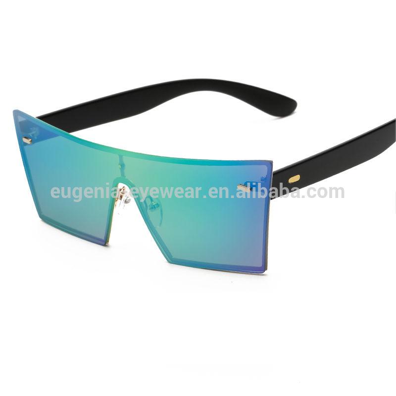 EUGENIA high quality new brand square frame one piece lens unisex fashion sunglasses women