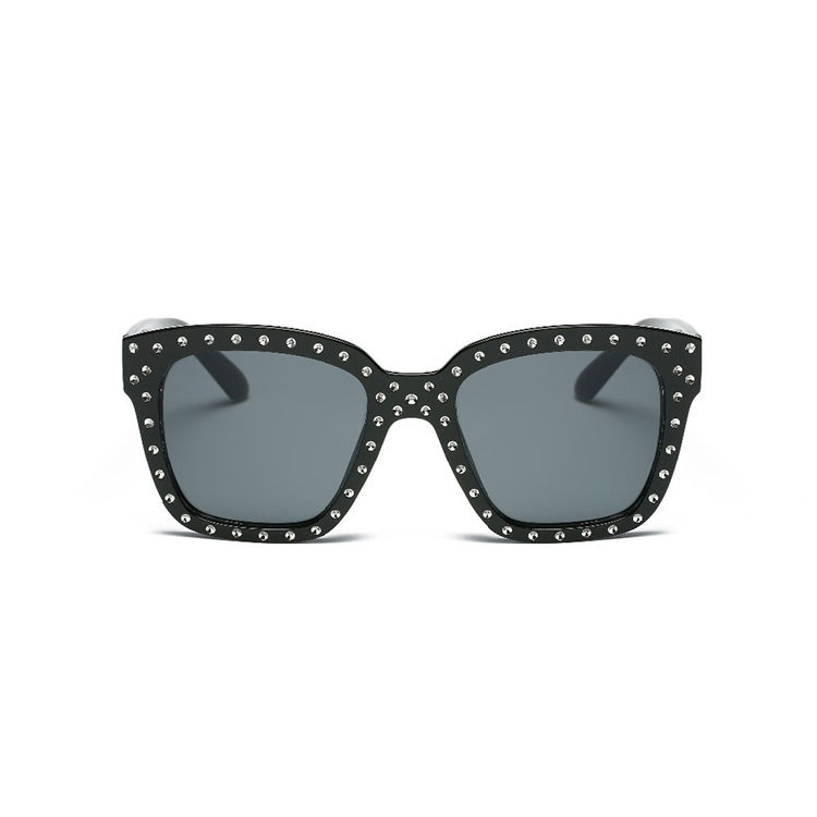 EUGENIA Funk metal decorated pins sunglasses plastic sunglasses fashion unisex with metal pins