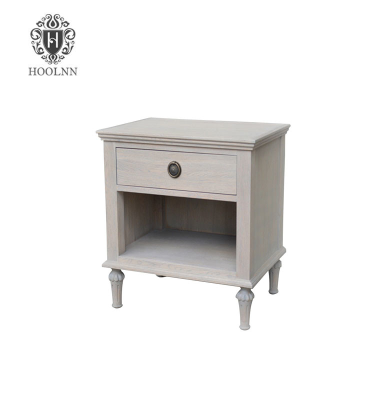 HL134 Antique French Style White Wooden Bedside Table Night Stand