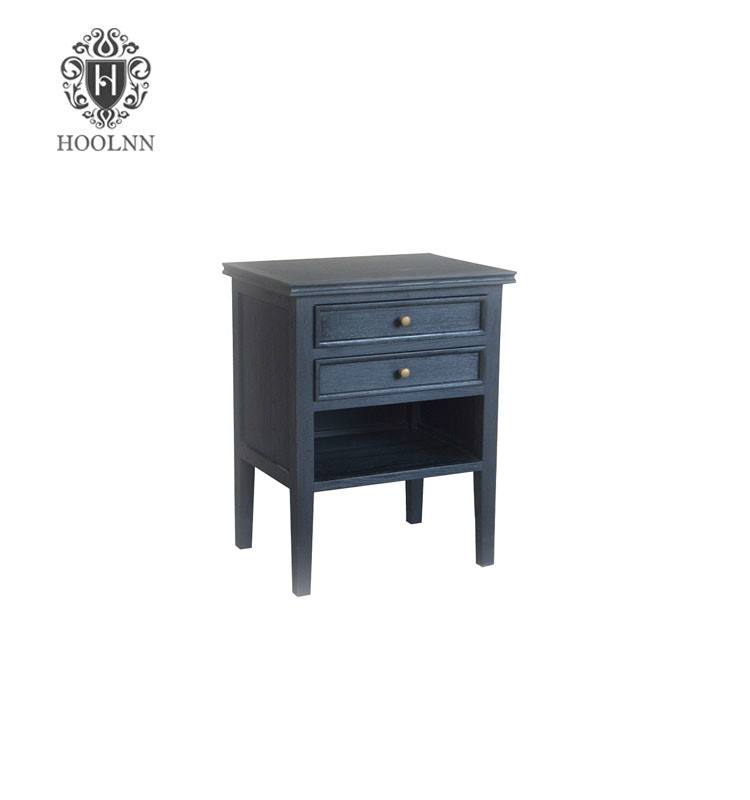 HL038-107 Cheap Black Antique Vintage French Wooden Bedside Table