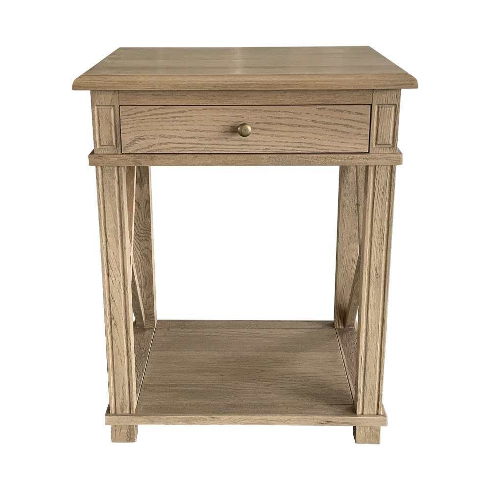 French Provincial X Brace Nightstand Bedside Table HL542 -1