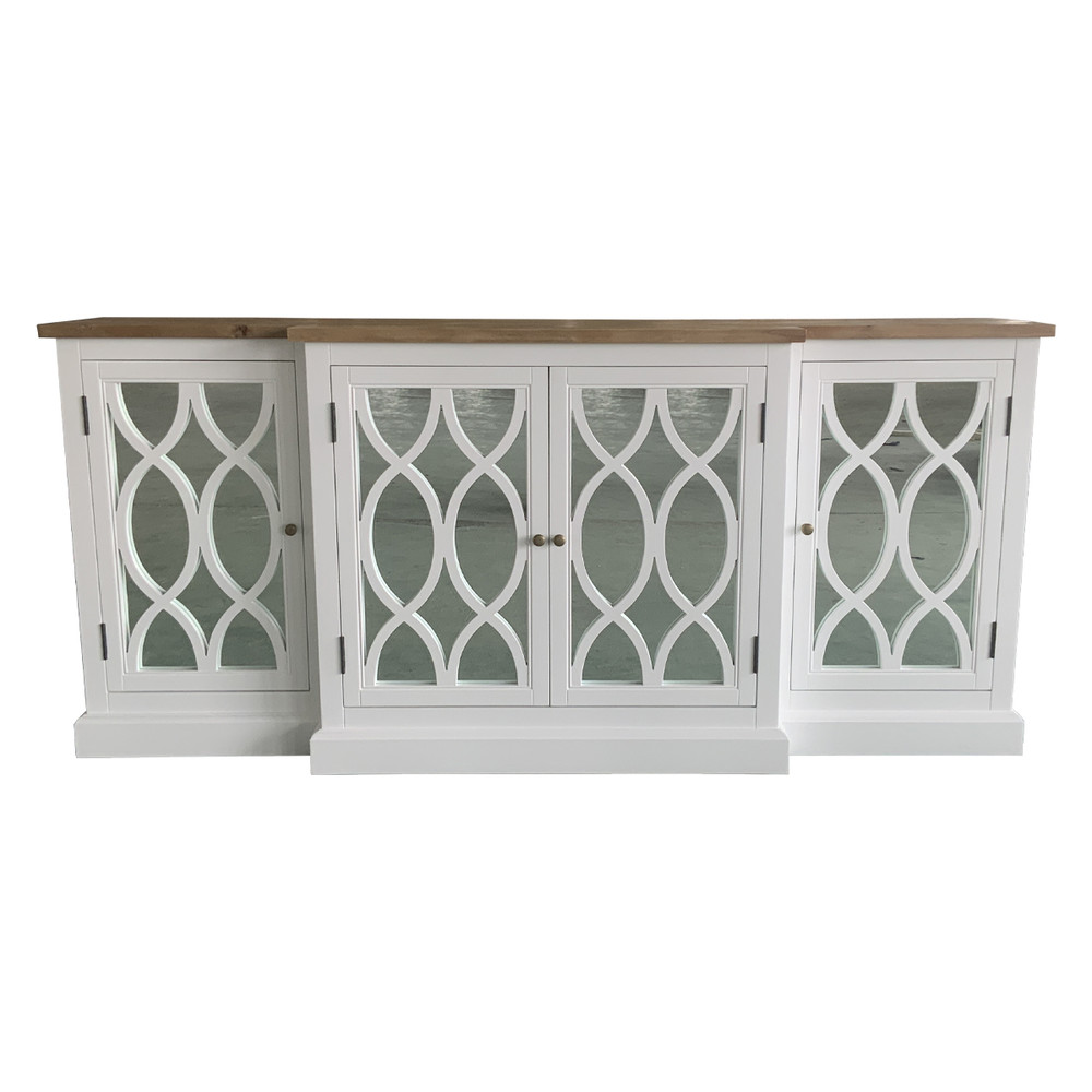 French Costal Style Mirrored White and Recycled Wood Cabinet Buffet Cupboard