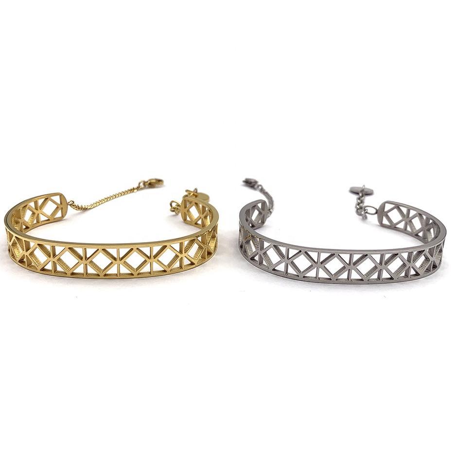 Friendship Half Design Hollow Cuff Gold Or Silver Color Chain Bracelets