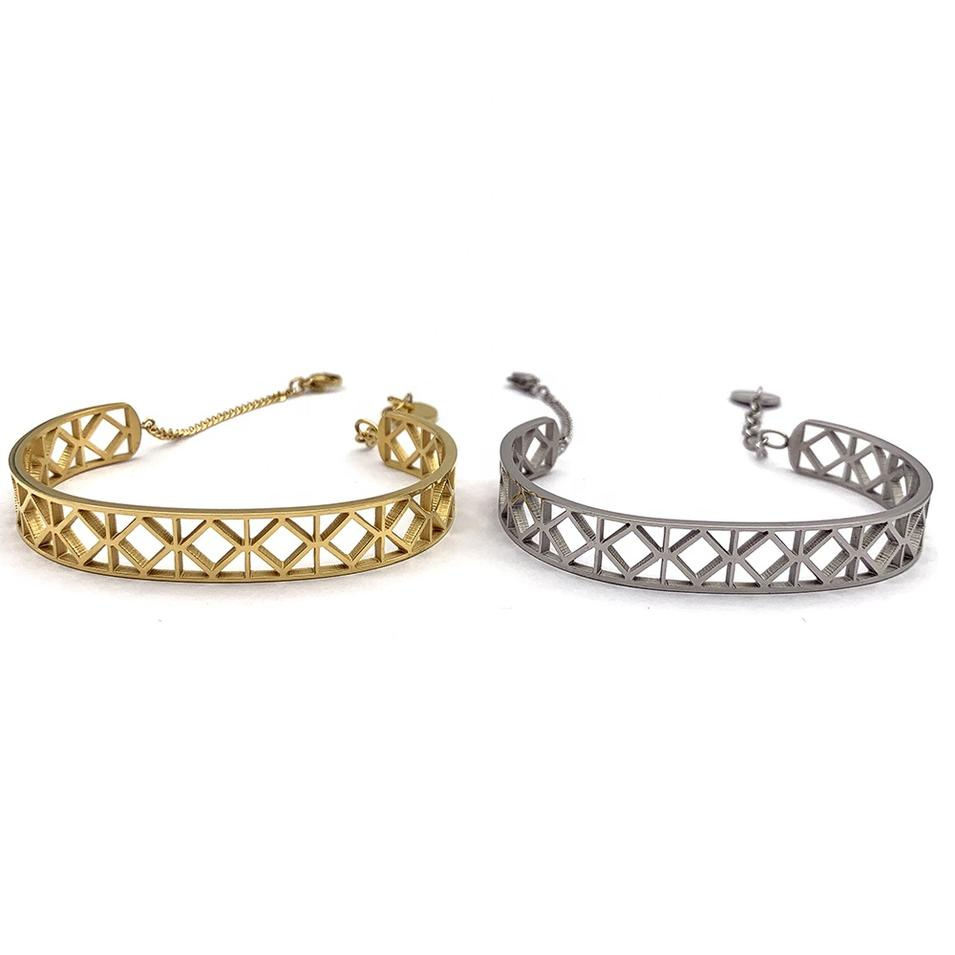 Friendship Half Design Hollow Cuff Gold Or Silver Color Chain Bracelets