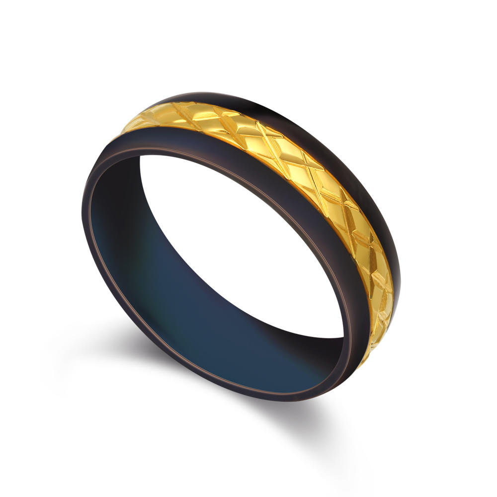 Classic Design Black Stainless Steel Gold Band Rings