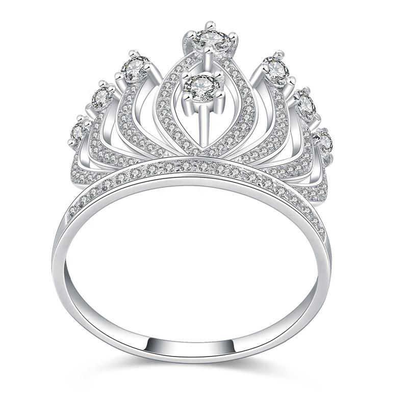 Queen's Cz Crown Wedding Band 925 Sterling Silver Ring