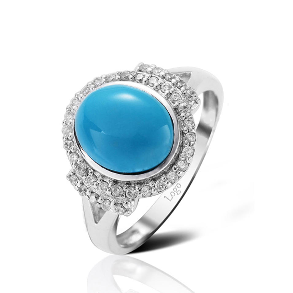 Fashion 925 Silver Cluster Setting Cz Blue Agate Druzy Ring