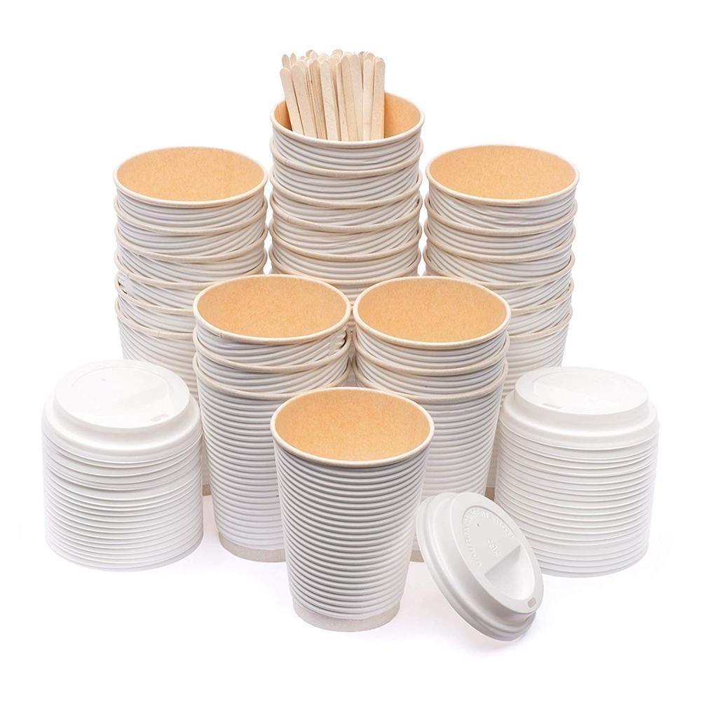 100% Compostable Disposable PLA Lined Paper Coffee Cup And Lid