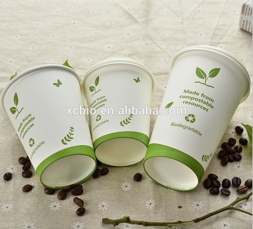 Wholesale 100% Biodegradable compostable PLA Coffee cup paper cup