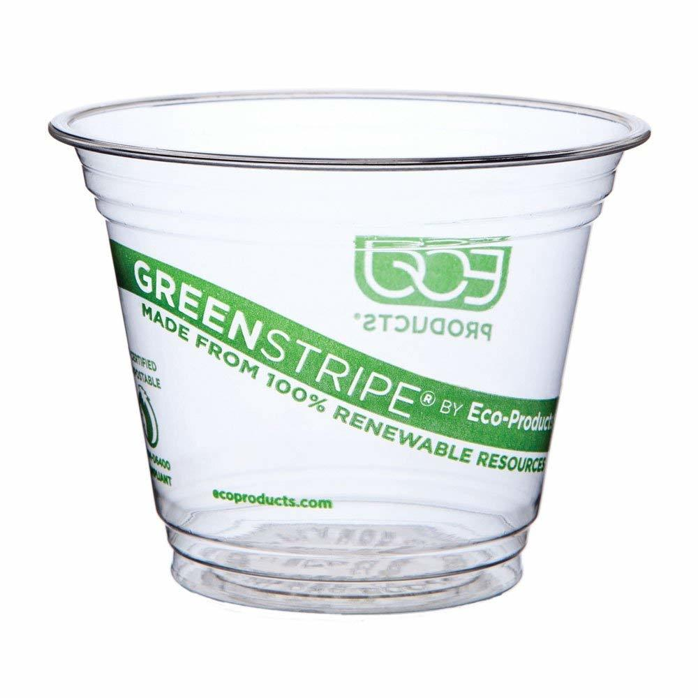 9 oz, PLA Eco-friendly Customized Size Logo Green Stripe Renewable & Compostable Cold Cups