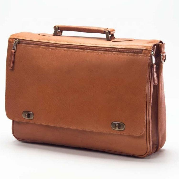 Men's Large Genuine Leather Briefcase Laptop Bag with Turn Lock