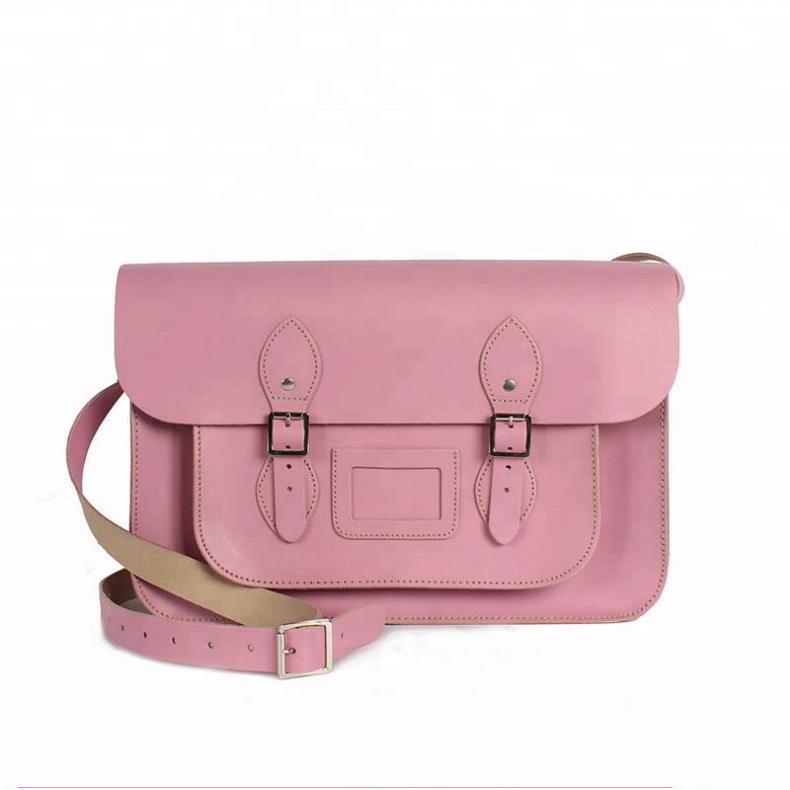 Designer Pink Leather Satchel Shoulder Messenger Bag with Adjustable Strap