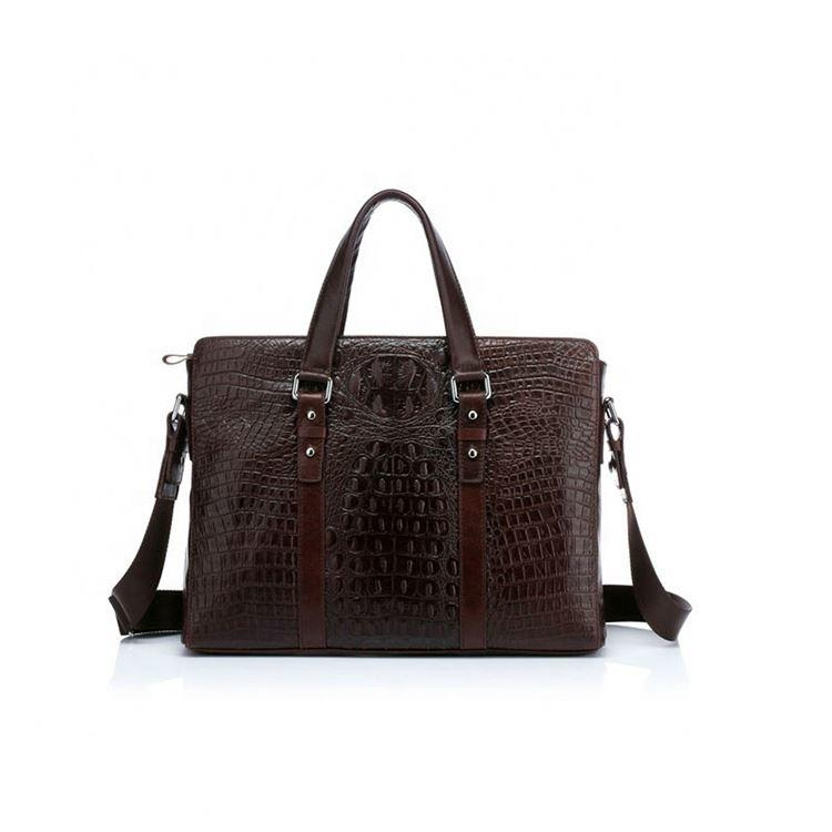 New fashion crocodile grain leather business laptop bag for men