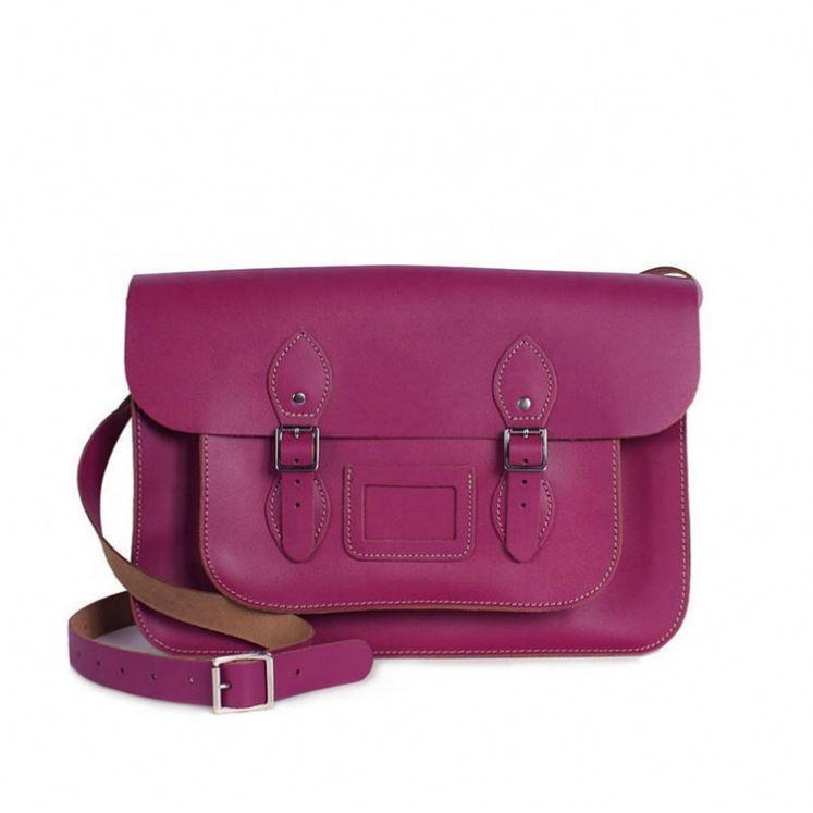 Adjustable Strap ladiesshoulder bag Purple genuine Leather Satchel bag for women vintage messenger girls briefcase