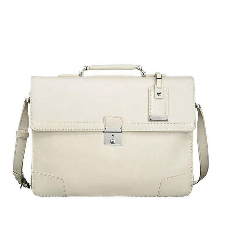 Men Slim flap Leather white Briefcase bag men leather bags briefcase