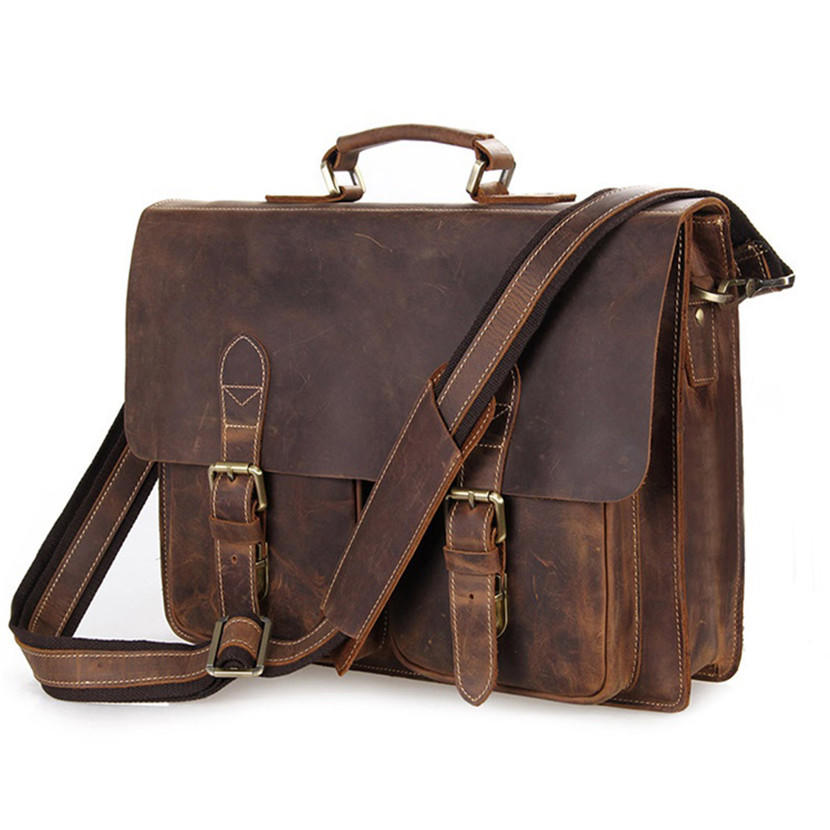 Genuine Leather Men Messenger Crazy Horse Leather Camera Bag Business Bag Laptop Shoulder Bag Men