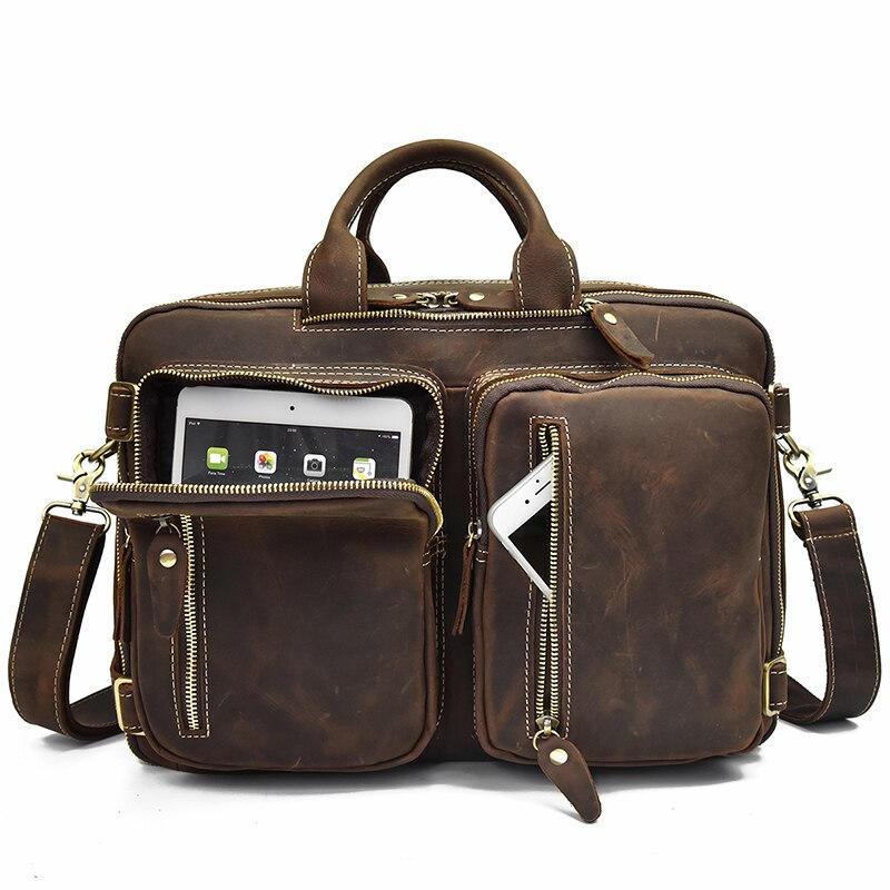 Men Business Briefcase Vintage Crazy Horse Genuine Leather 15inch Laptop Messenger Bag Cowhide Big Capacity Tote Office Handbag
