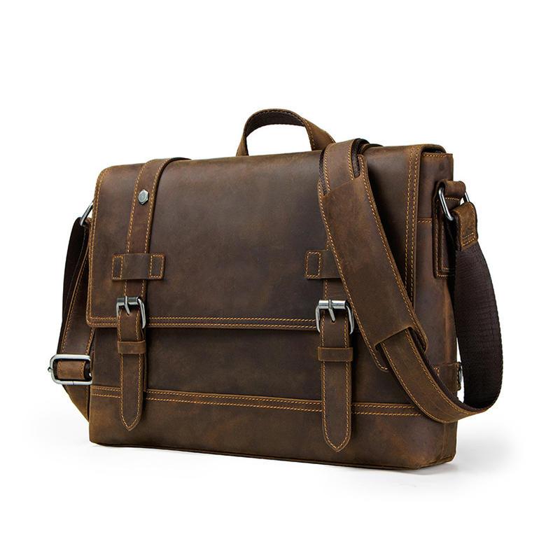 100% Genuine Leather Briefcase Men Vintage Real Crazy Horse Leather Messenger Shoulder Business Laptop Bag Case Office Handbag