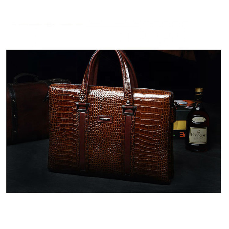 exclusive crocodile grain official bag genuine leather portable briefcase