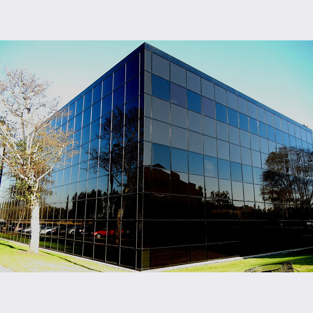 Toughened Aluminum Profile Frame With Reflection Tinted Glass Curtain Wall
