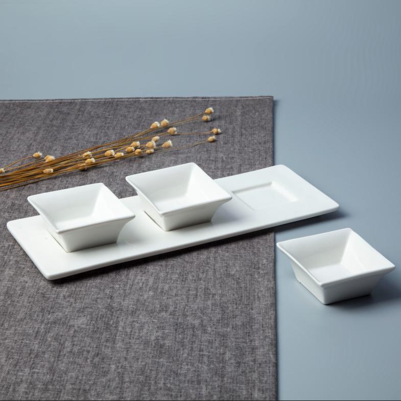 Dinnerware restaurant grace designs ceramic dinnerware 3 pcs square sauce bowls set with tray buffet dishes set porcelain cheap