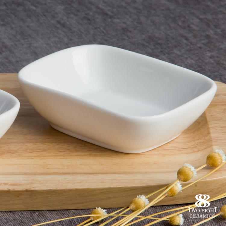 Wholesale ceramic flat dinnerware pure white buffet bowl 2018 rectangular crockery boat plate