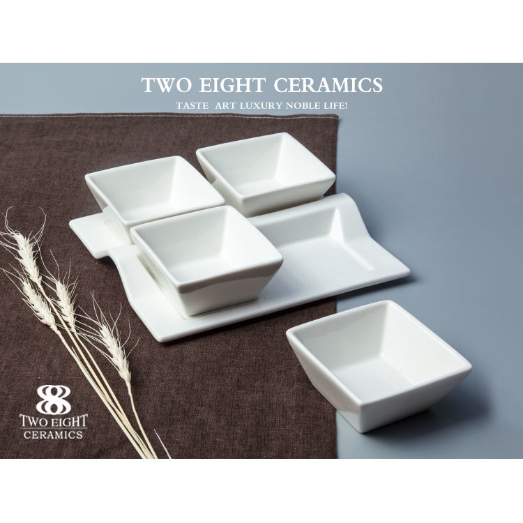 Ceramic condiment holder, enamel bowl, ceramic bowl set