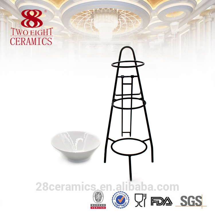 Wholesale chinese ceramics other flat ware, dessert cup set with iron stand