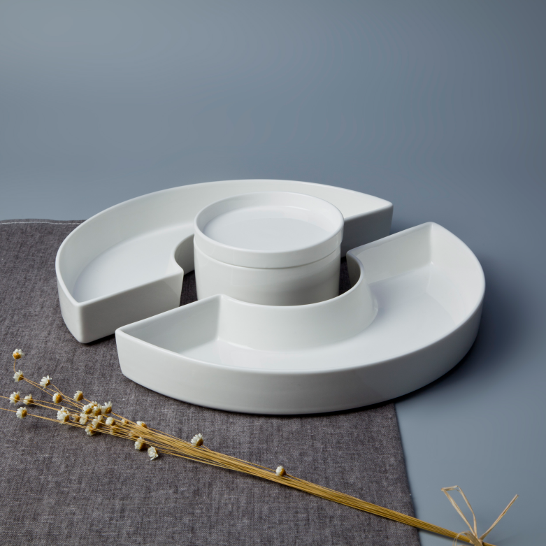 Wholesale unique design dessert plate, snack serving set, ceramic crockery set