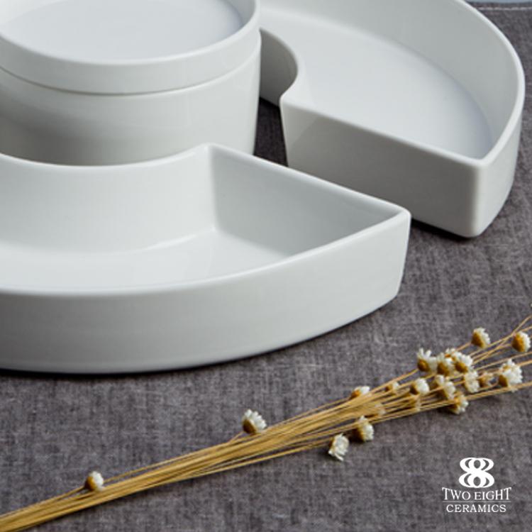 porcelain decorative plates combination half circle round dinnerware set