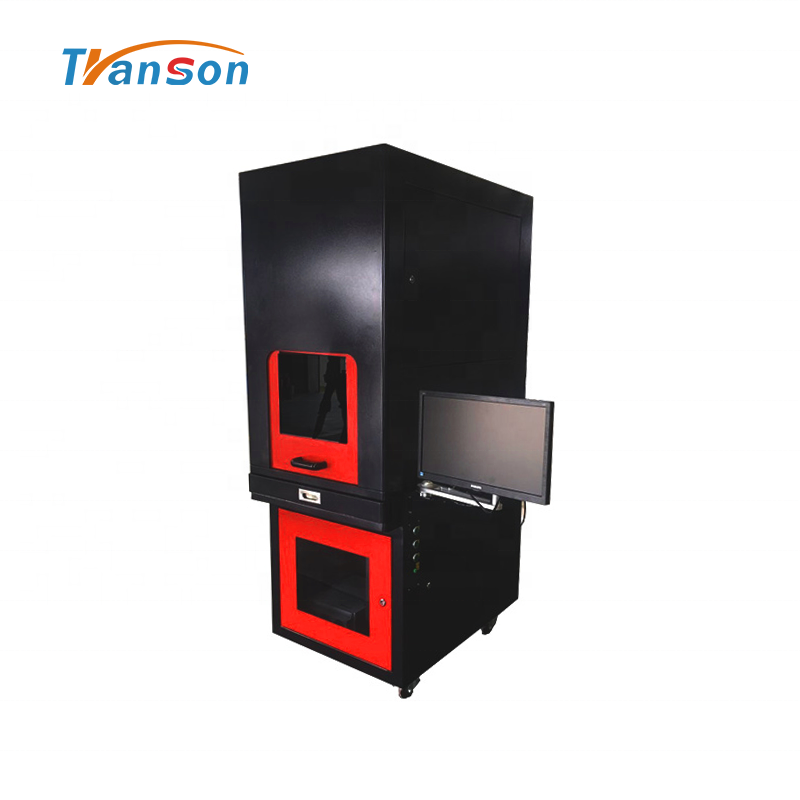 100WHigh Power Fiber laser Marking Machine Full-Enclosed Type for Metal Leather Plastic Stone