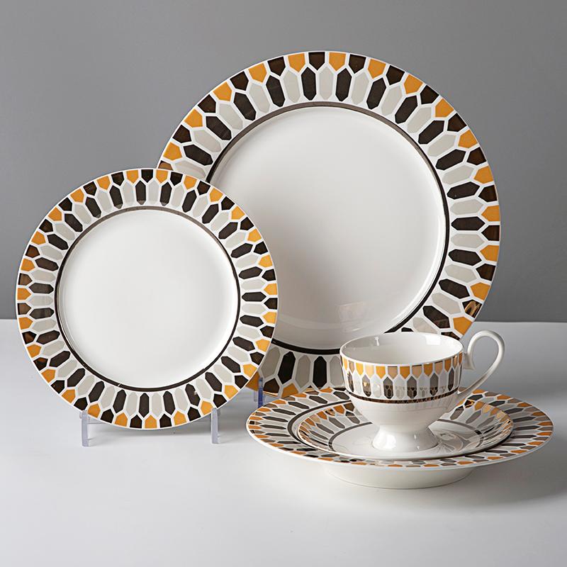 High-Grade European Bone China Dinnerware, Restaurant Hotel Supplies Bone Ceramic Tableware, Fine Bone China Dinner Set^