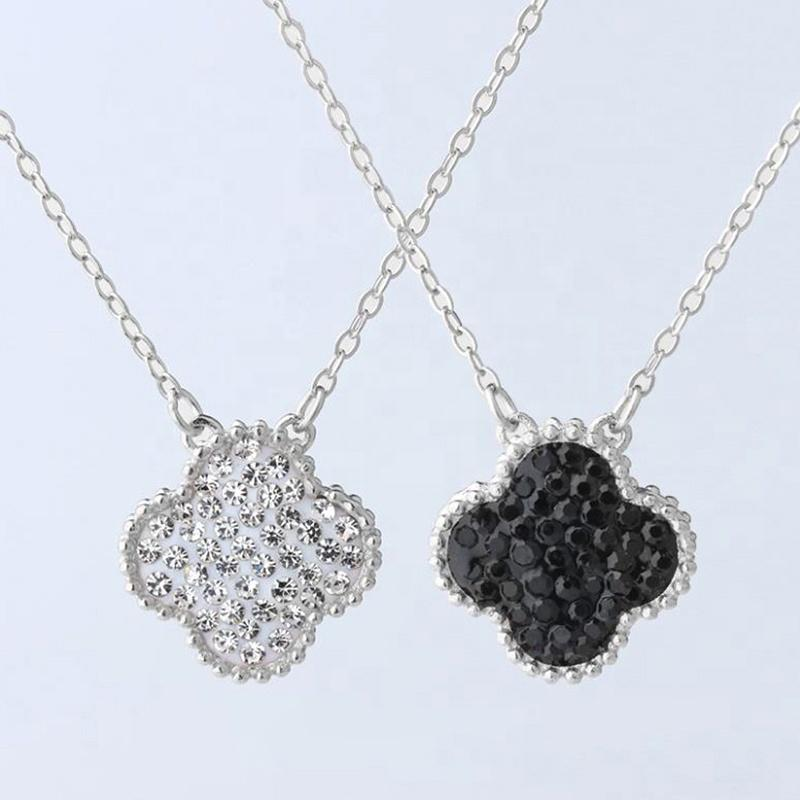 Lucky Double-Sided Zircon Silver Four-Leaf Clover Chain Necklace