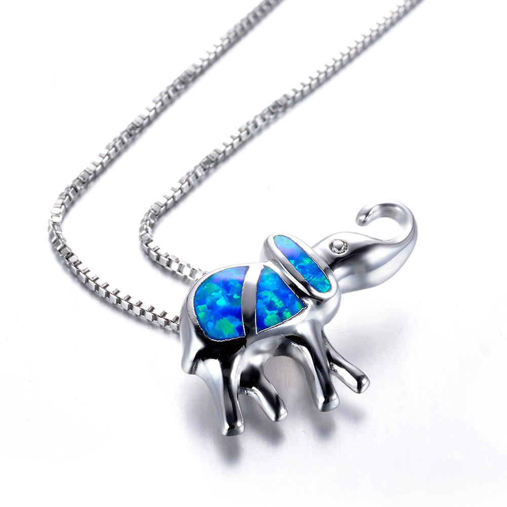 S925 Pure Silver Blue Opal Treasure Elephant Pendant Girl Elephant Necklace