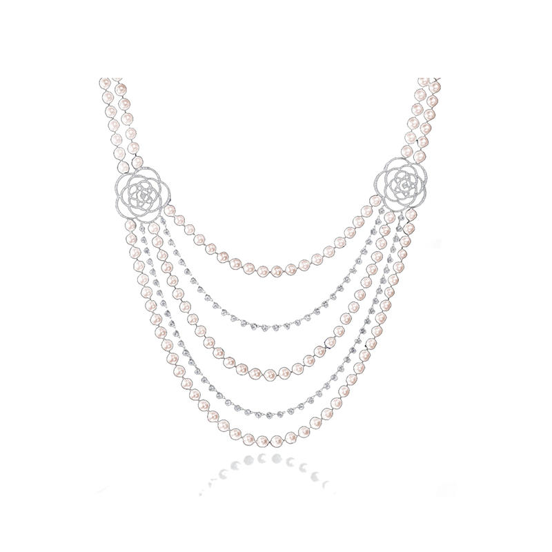 925 silver elegant flower pearl body chain necklace