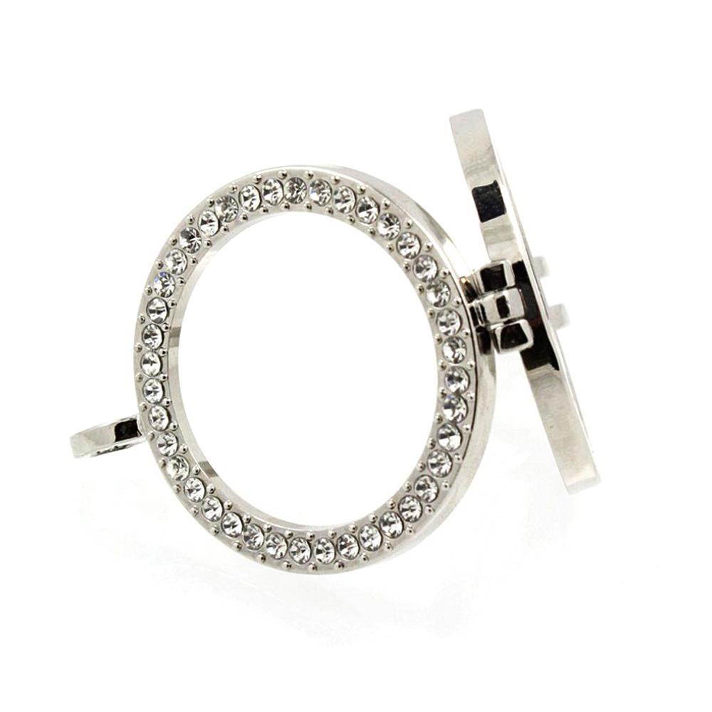 Hollow circle silver diamond artificial lockets