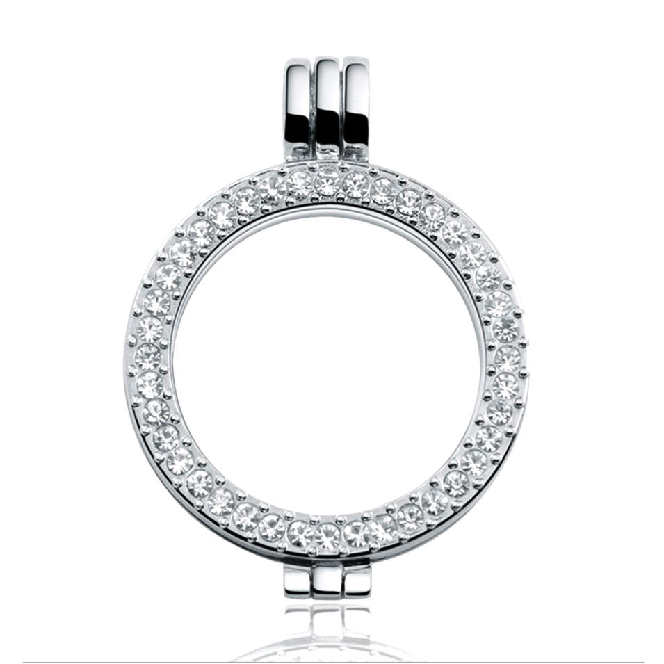 Hollow circle silver diamond artificial lockets