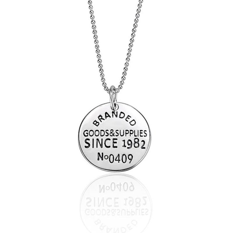 925 Sterling Silver English Letter Round Tag Necklace Personality
