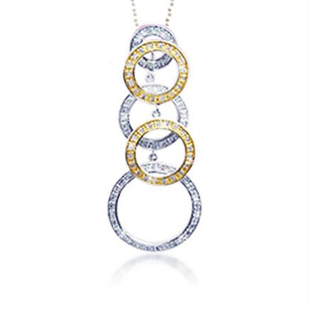 Gold plated circle design 925 italy silver jewelry