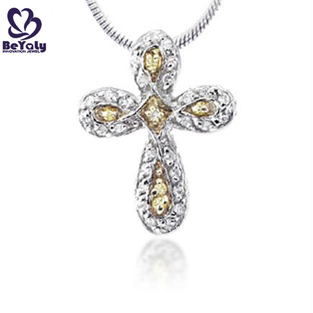 Yellow stone italian design 925 sterling silver cross necklaces