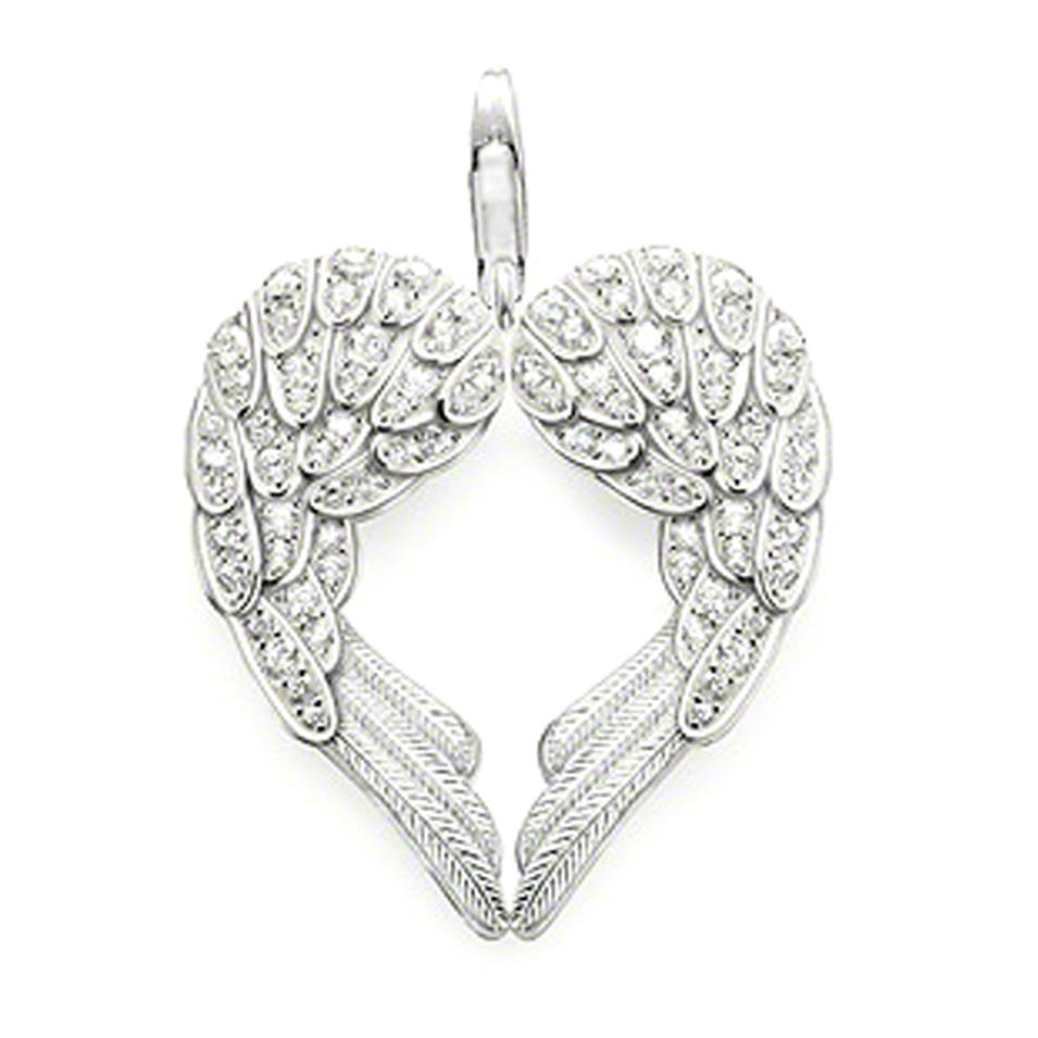925 silver jewelry fashion cubic stone heart angel wings charm