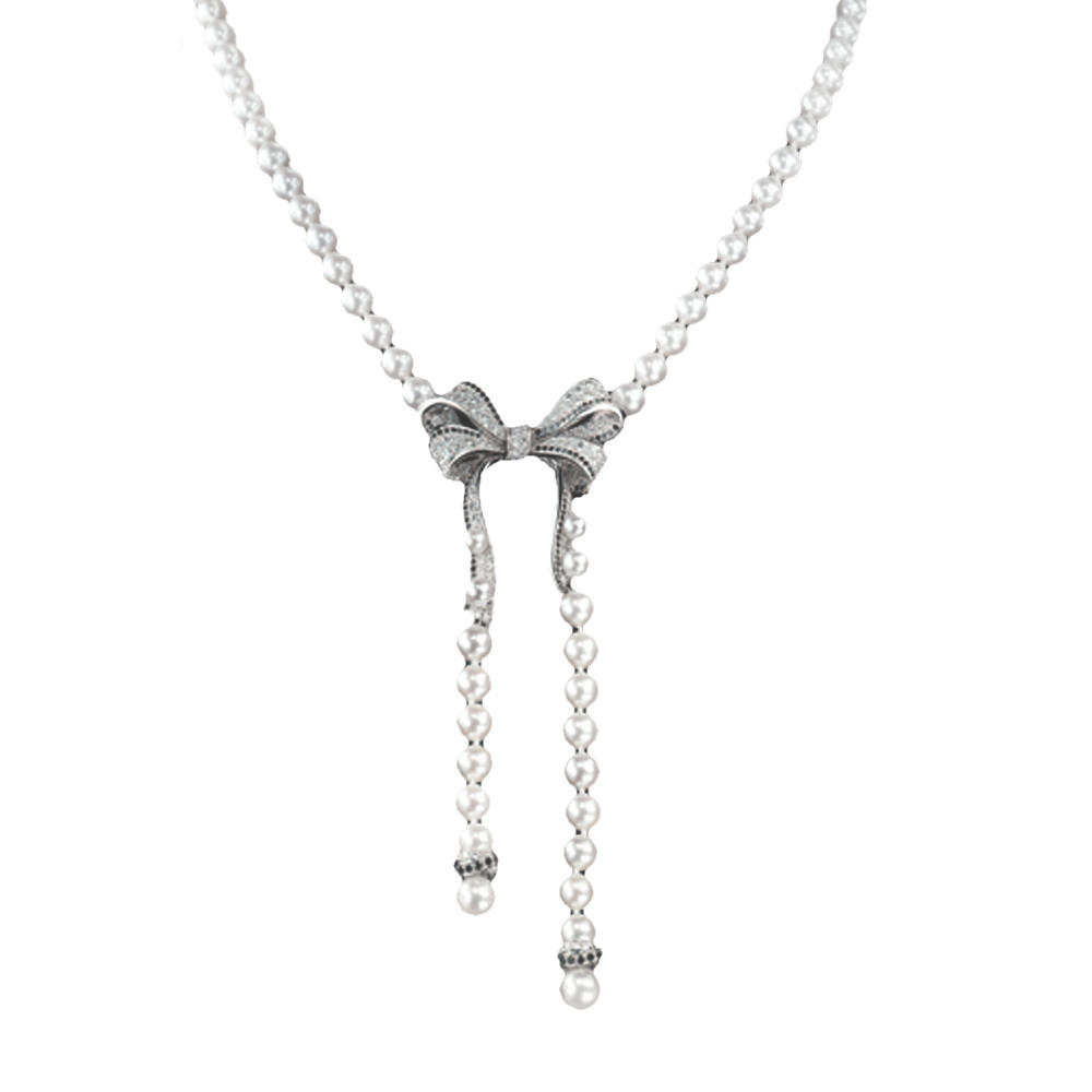 Fashion girls silver cz bowknot necklace pearl
