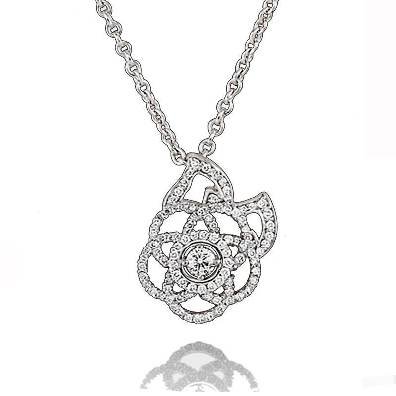 Ladies Beautiful Silver Cz Star Flower Jewelry Necklace Set