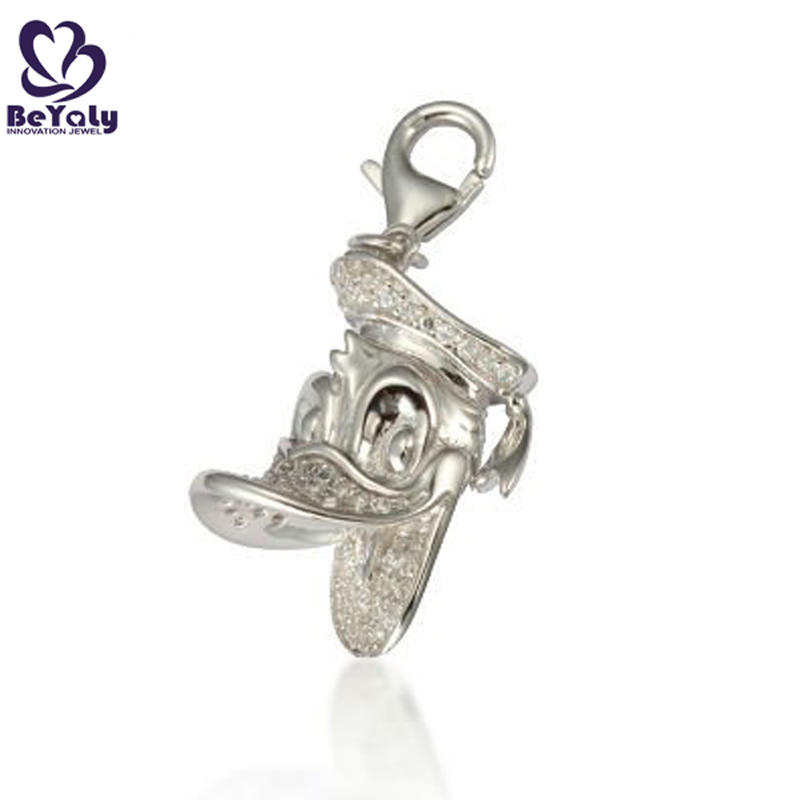 Entertaining silver cz cartoon laughing duck pendant