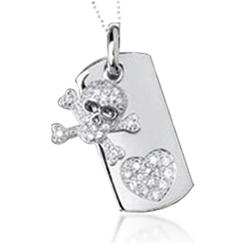 Exquisite skull cz heart sterling silver rhodium plated jewellery