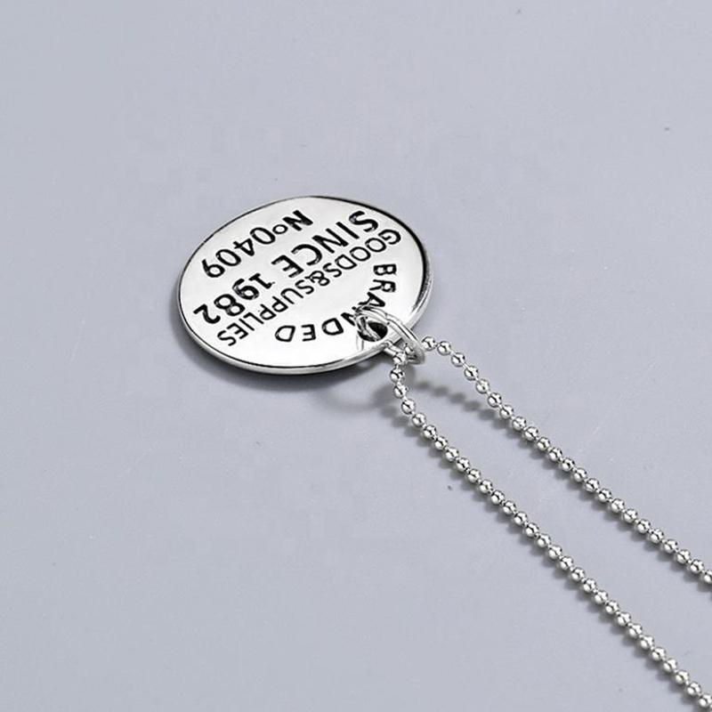 Custom Charm Blank Letter Engraved Silver Wholesale Simple Necklace