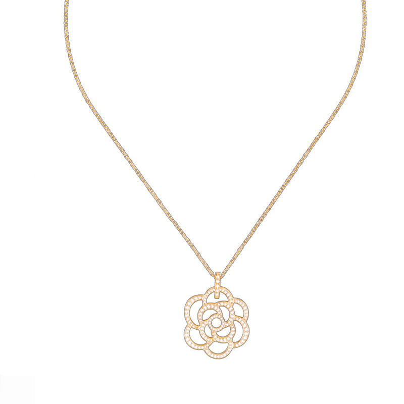 Thin chain cz flower 3 grams gold necklace models